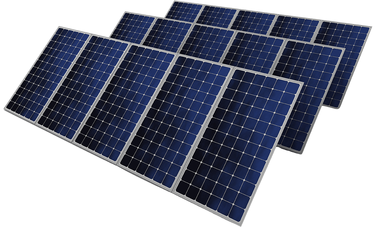 three sets of solar panels