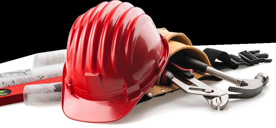 construction helmet and tools in tool belt