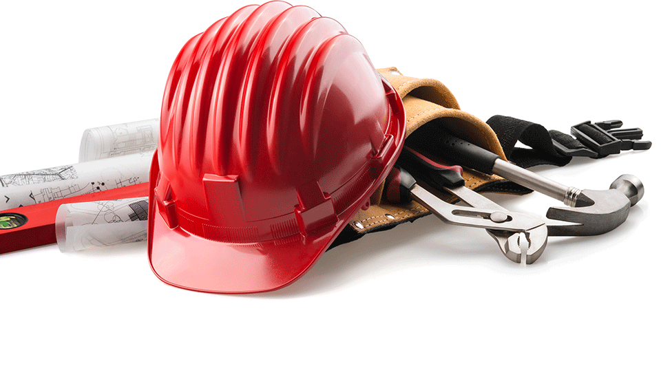 construction helmet and tools in tool belt